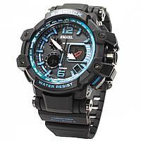 ☇Наручные часы Smael 1509 Black + Blue с двойным временем влагозащищенные для спортсменов светодиодные
