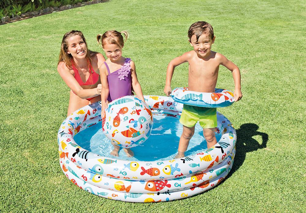 Бассейн детский надувной Intex Аквариум (Рыбки) 132х28см с кругом и мячом 51см (59469)