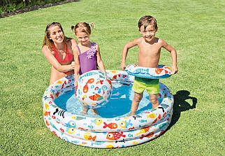 Дитячий надувний басейн Intex Акваріум (Рибки) 132х28см з колом і м'ячем 51см (59469)