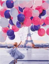 Картина по номерам Девушка с шароми