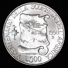 Серебряная монета Италии 500 лир 1991 г