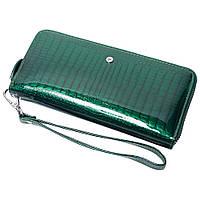Женский кожаный кошелек лаковый F. Leather Collection AL-AE38-D.Green Зеленый, фото 1