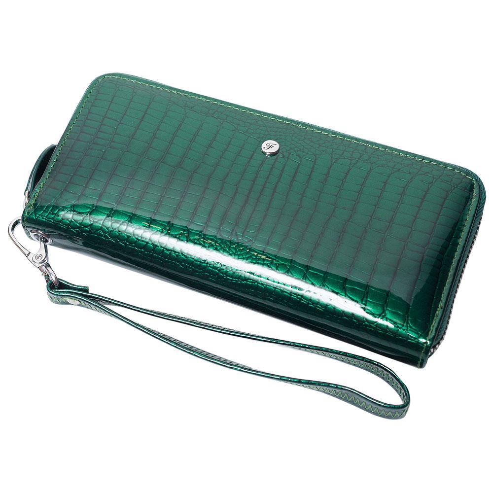 Женский кожаный кошелек лаковый F. Leather Collection AL-AE38-D.Green Зеленый