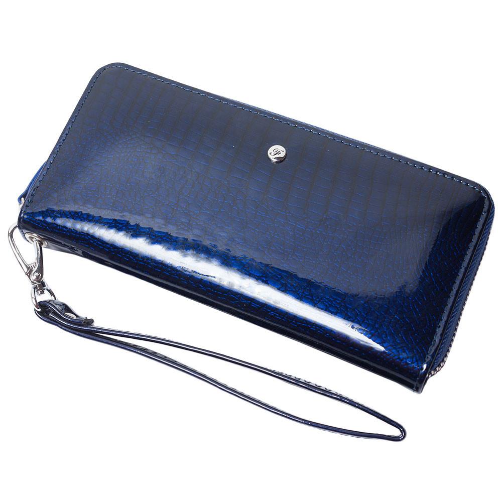 Женский кожаный кошелек лаковый F. Leather Collection AL-AE38-D.Blue Темно-синий