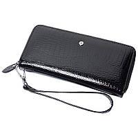 Женский кожаный кошелек лаковый F. Leather Collection AL-AE38-Black Черный, фото 1