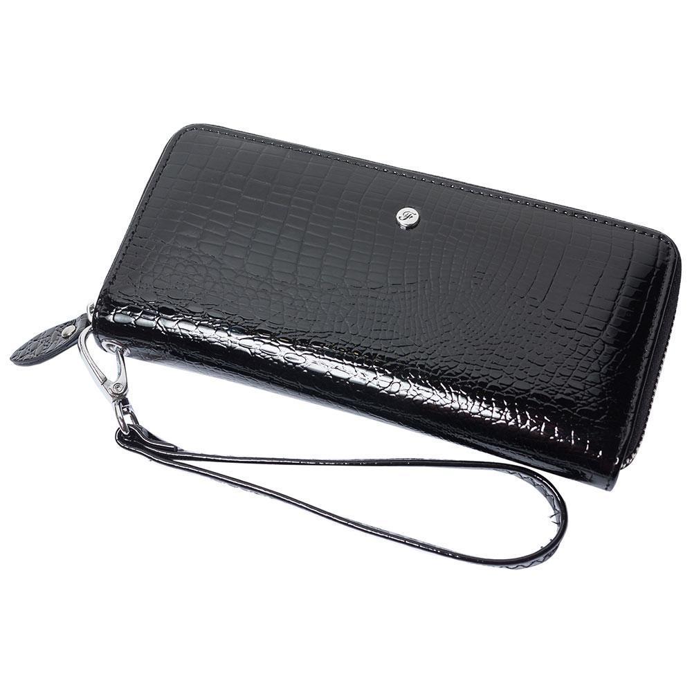 Женский кожаный кошелек лаковый F. Leather Collection AL-AE38-Black Черный