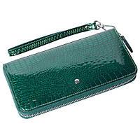 Женский кожаный кошелек лаковый F. Leather Collection AL-AE38-1 D.Green Зеленый, фото 1