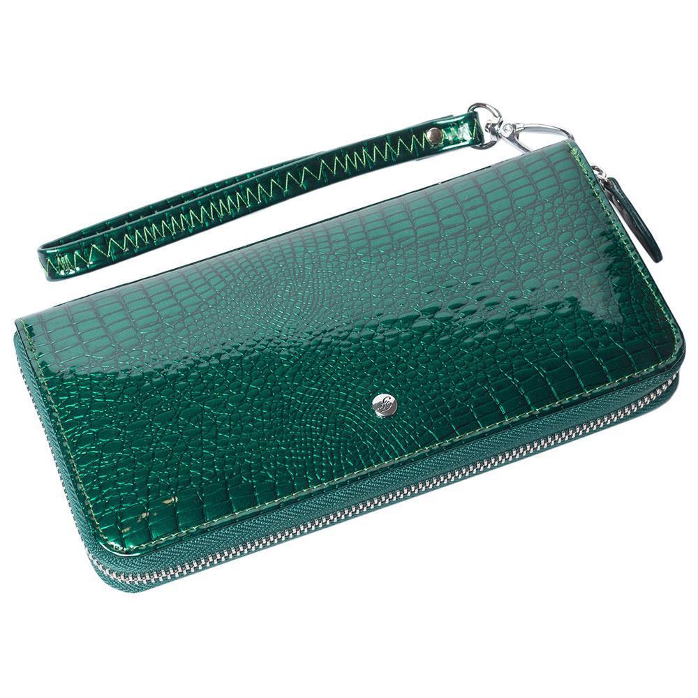 Женский кожаный кошелек лаковый F. Leather Collection AL-AE38-1 D.Green Зеленый