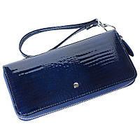 Женский кожаный кошелек лаковый F. Leather Collection AL-AE38-1 D.Blue Синий, фото 1
