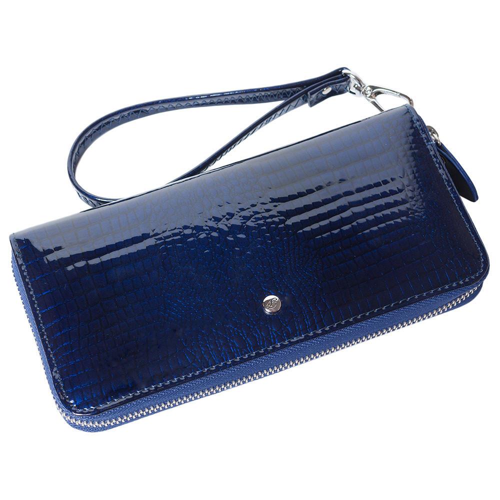 Женский кожаный кошелек лаковый F. Leather Collection AL-AE38-1 D.Blue Синий