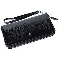 Женский кожаный кошелек лаковый F. Leather Collection AL-AE38-1 Black Черный, фото 1