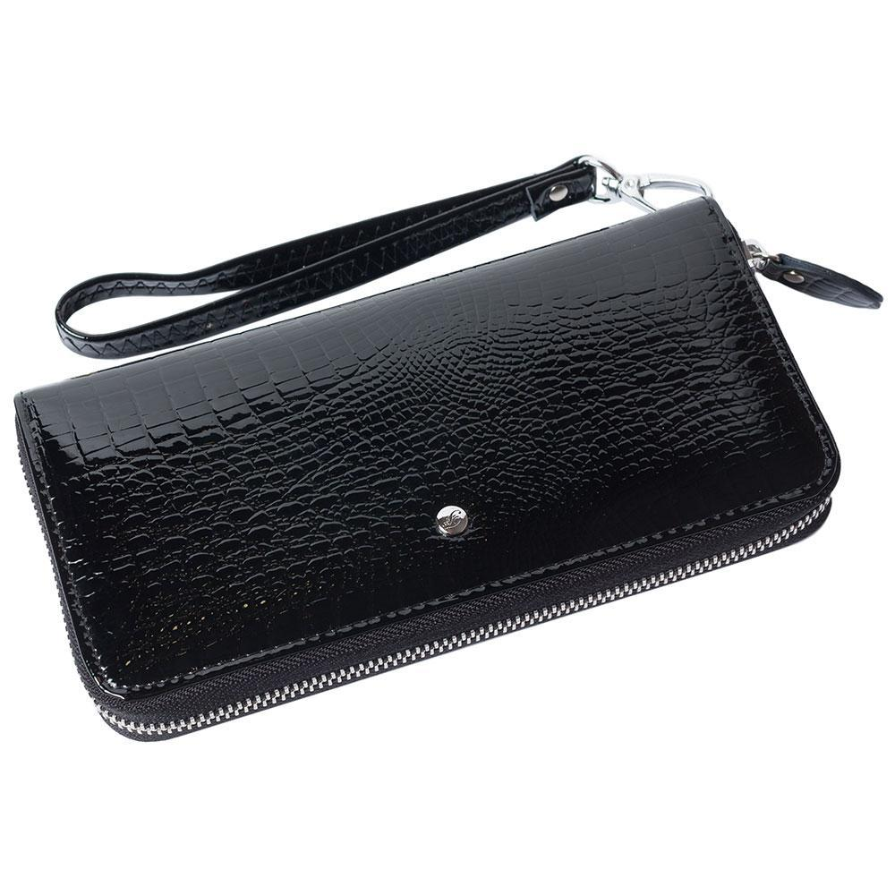 Женский кожаный кошелек лаковый F. Leather Collection AL-AE38-1 Black Черный