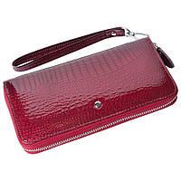 Женский кожаный кошелек лаковый F. Leather Collection AL-AE38-1 J.Red Бордовый, фото 1