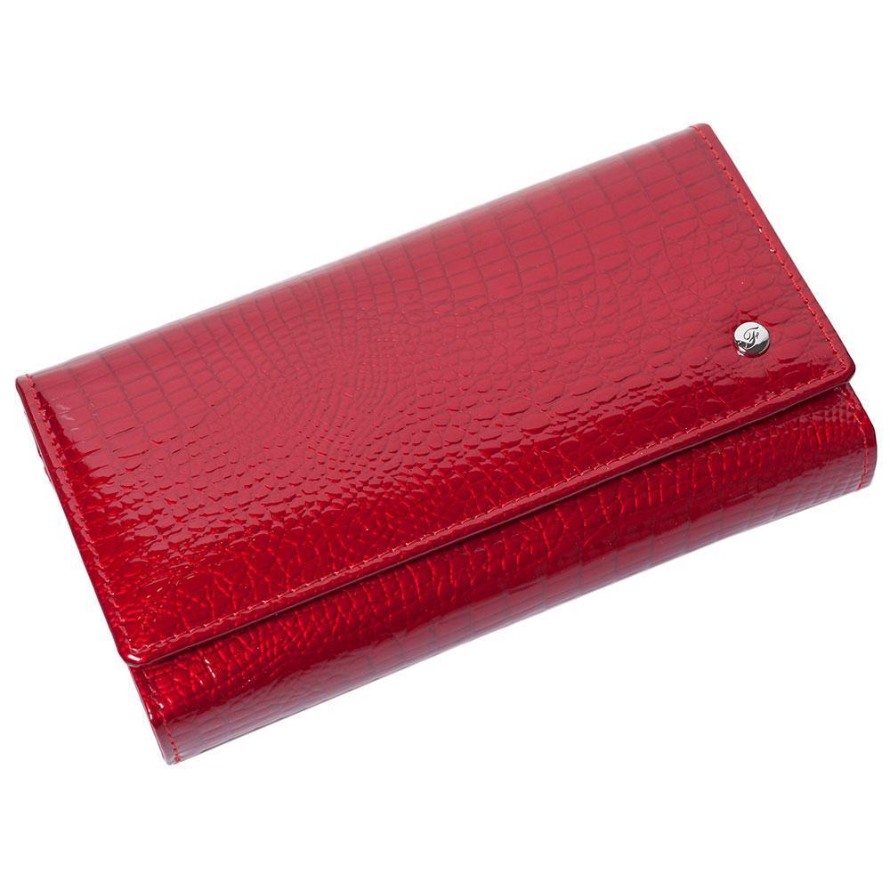 Женский кожаный кошелек лаковый F. Leather Collection AL-AE46 Red Красный