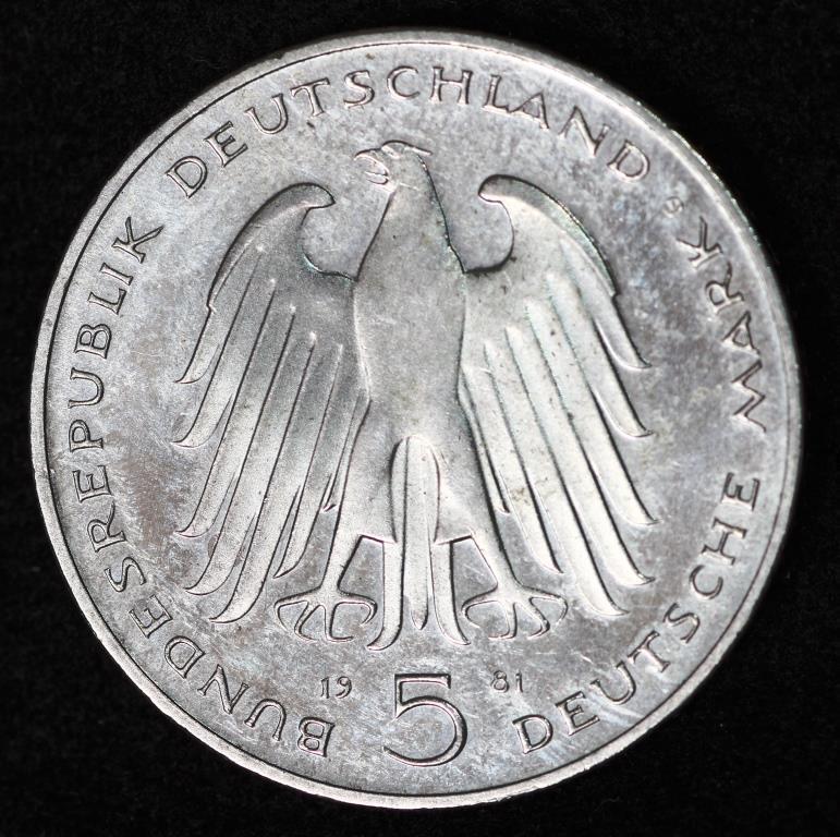 Монета Германии 5 марок 1981 г.