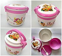 Ланч - бокс + ложка и тарелка. Контейнер для продуктов. Розовый
