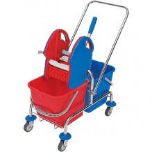 Уборочные тележки на колесиках с двумя ведрами 20л и отжимом на хромированной раме для комплексной уборки