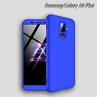Чехол GKK 360 градусов для Samsung Galaxy A6 Plus цвет Синий
