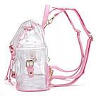 Прозрачный рюкзак в стиле grafea(графеа). Лазерный рюкзак с карманами розовый., фото 4