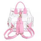 Прозрачный рюкзак в стиле grafea(графеа). Лазерный рюкзак с карманами розовый., фото 3