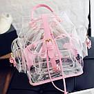Прозрачный рюкзак в стиле grafea(графеа). Лазерный рюкзак с карманами розовый., фото 6