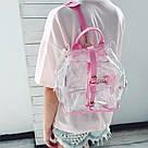 Прозрачный рюкзак в стиле grafea(графеа). Лазерный рюкзак с карманами розовый., фото 7