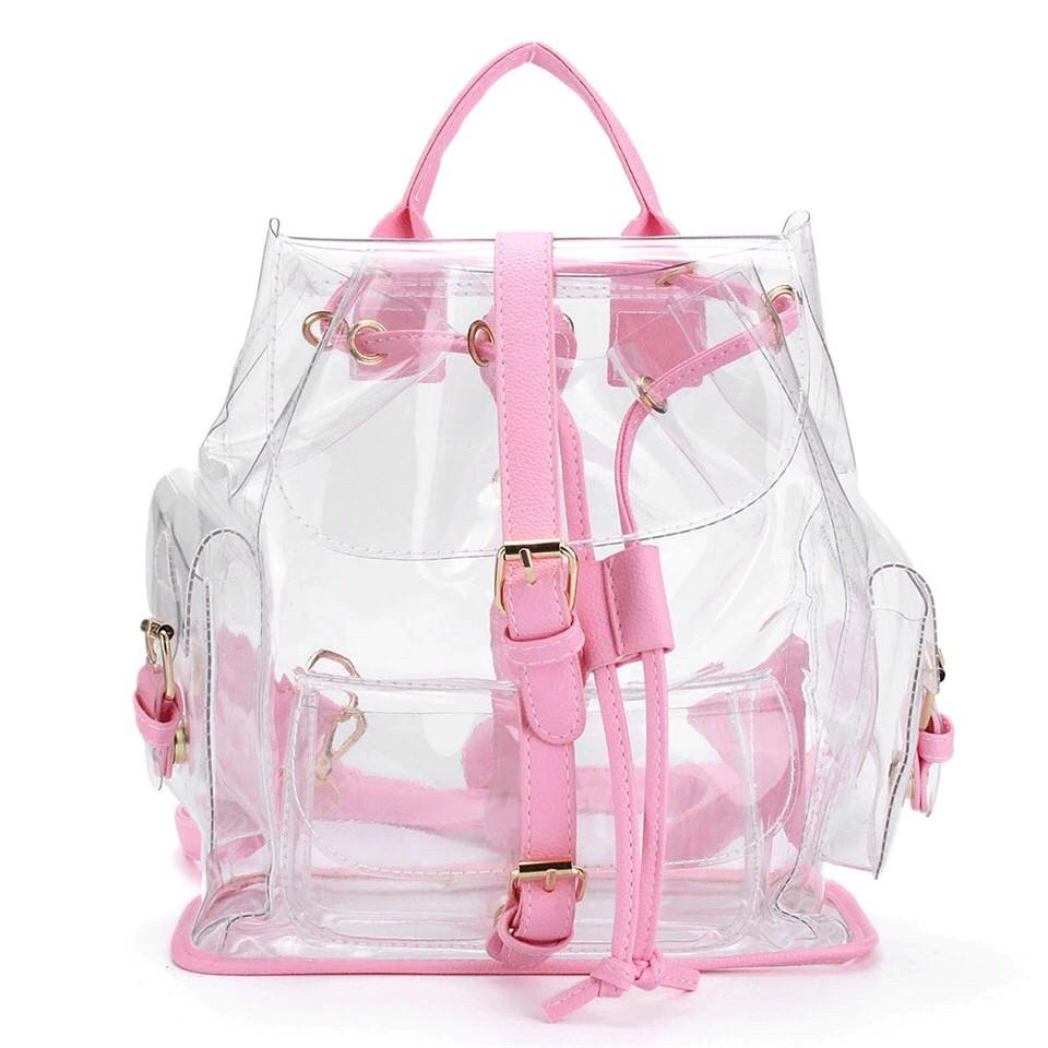 Прозрачный рюкзак в стиле grafea(графеа). Лазерный рюкзак с карманами розовый.