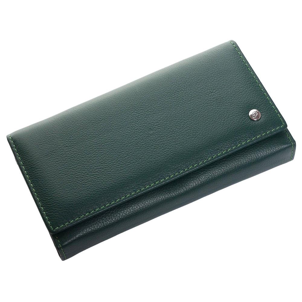 Женский кожаный кошелек F. Leather Collection AL-W46 Green зеленый