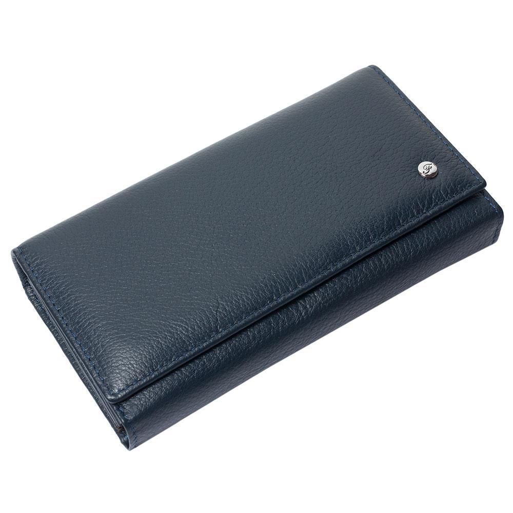Женский кожаный кошелек F. Leather Collection AL-W46 D.Blue темно-синий