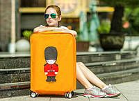Чехол на чемодан 46*35*23, защита от царапин и загрязнений. Голубой, желтый
