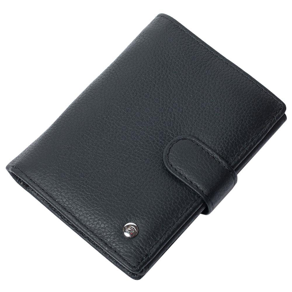 Портмоне мужское кожаное черное с отделением для паспорта F. Leather Collection ALRT-F24 Black