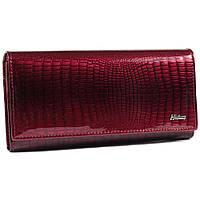 Женский кожаный кошелек с лакированным покрытием и принтом под рептилию бордовый AL-AE150-JR, фото 1