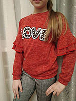 "Детский свитерок с валанами  ""Love"" (128-158р), фото 1"