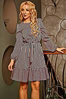 """Изящное платье """" Филадельфия """"  в полоску темно-синего цвета, фото 1"""