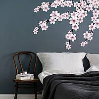 Наклейка интерьерная на стену Цветущая ветка (виниловая пленка самоклеющаяся, абрикосовый цвет декор)