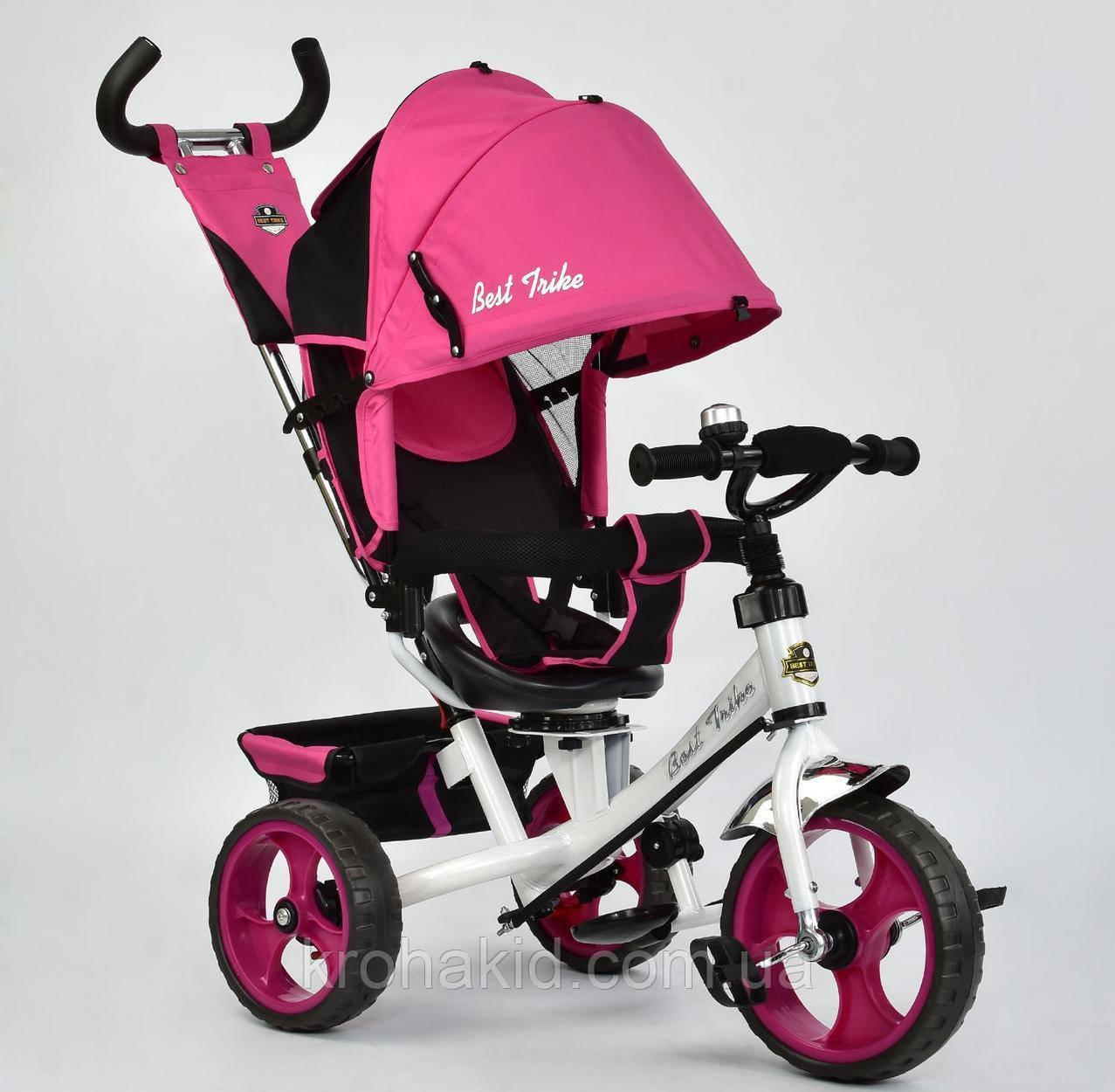 Велосипед трехколесный 5700 - 3980 РОЗОВЫЙ ПОВОРОТНОЕ СИДЕНЬЕ, КОЛЕСА EVA (ПЕНА)