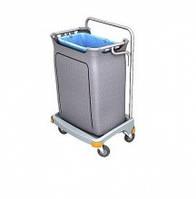 Хромированный Тележка держатель для мусорного пакета 120л с пластиковым коробом и крышкой