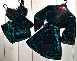 Халат+пижама с кружевом мраморный велюр, комплект для дома.