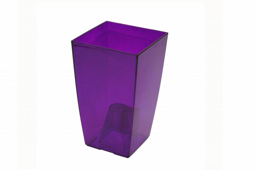 Горщик Фінезія 125 прозорий фіолетовий