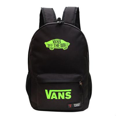 Городской рюкзак Vans черный с салатовым логотипом (реплика)