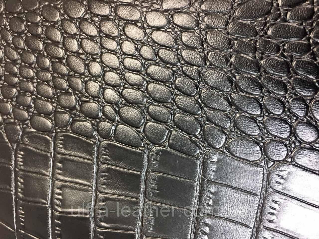 Натуральная кожа,   Крокодил,  черный 0, фото 1