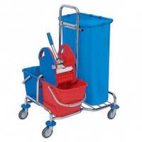 Тележка для уборки помещений многофункциональная двухведерная металическая с мешком для мусора 120л корзина