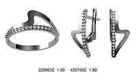 Серебряное кольцо с серебряными сережками набор