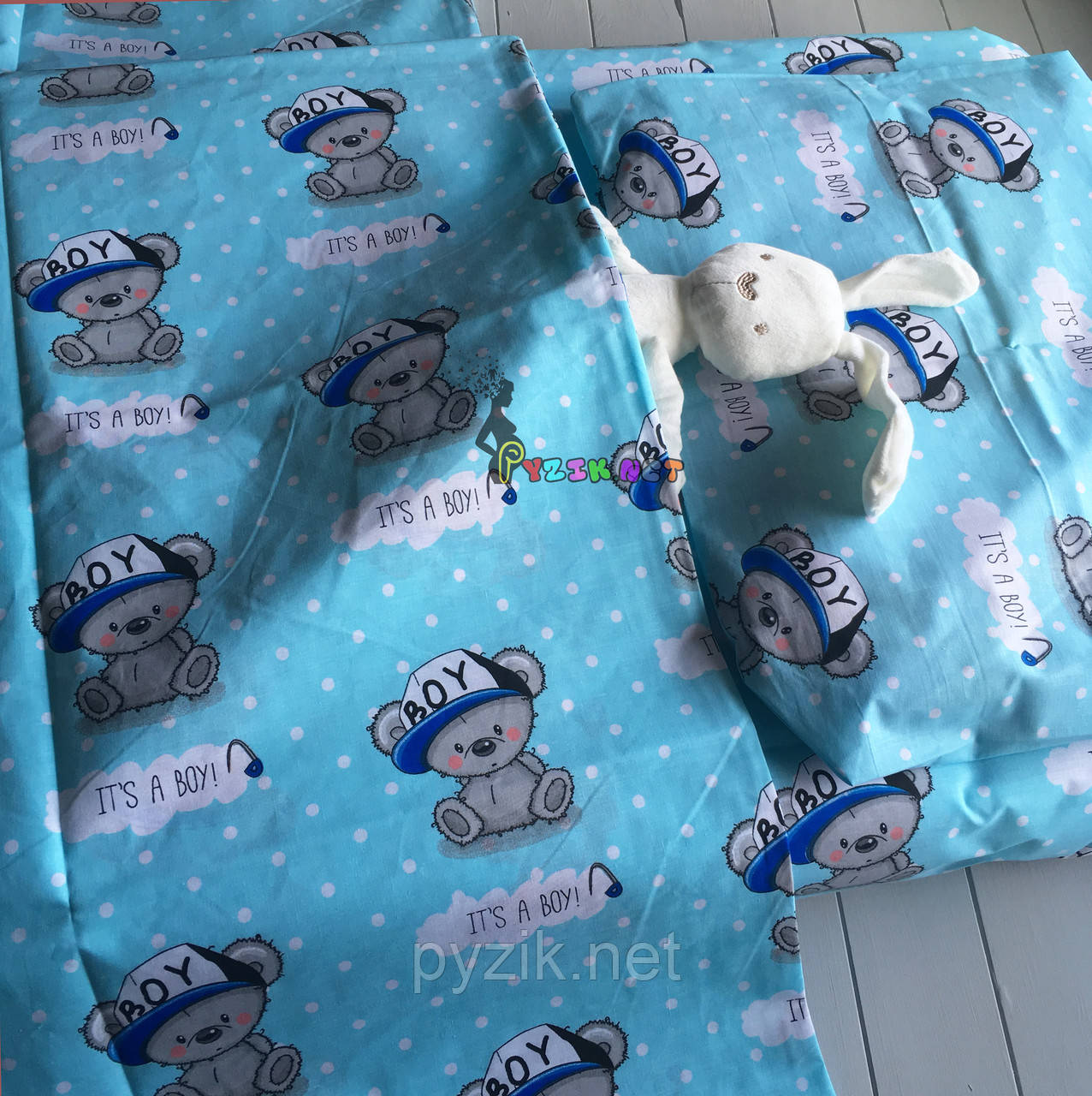 Постельный набор в детскую кроватку (3 предмета) It's a boy, бирюзовый