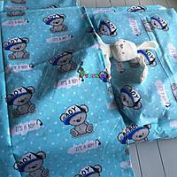 Постільний набір в дитячу ліжечко (3 предмета) it's a boy, бірюзовий, фото 1