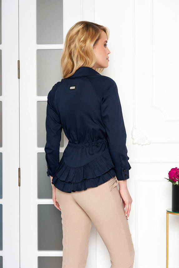 Красивая блузка с поясом и рюшами темно-синяя, фото 2