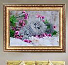 Алмазная вышивка, котик в цветах, 40х30 см, фото 4