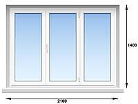 "Окно металлопластиковое (Века) Veka Рroline 70 мм, 5-этажка ""Хрущевка"" 2100х1400 мм"