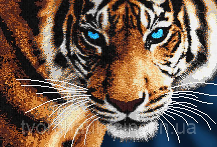 """Схема на ткани для вышивания бисером """"Тигр"""" (серия Элит)."""