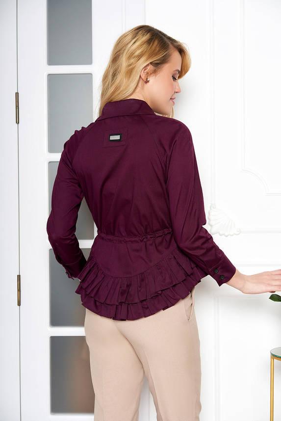 Красивая блузка с поясом и рюшами фиолетовая, фото 2
